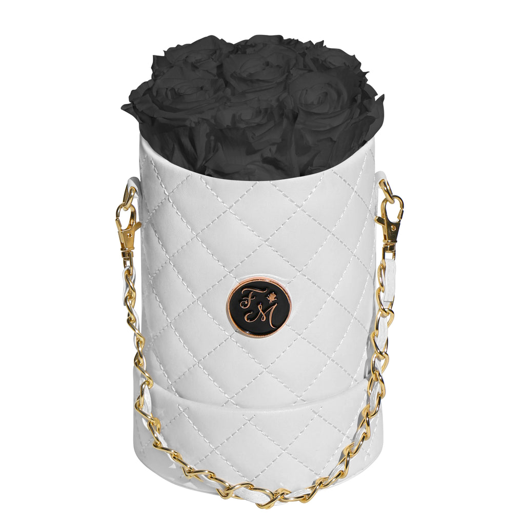 Black Roses - Quilted Box Bouquet - Small (White Box)
