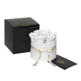 White Roses - Classic Round Box Bouquet - Small (White Box)