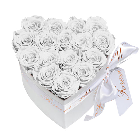 White Roses - Heart Box Rose Bouquet - Small (White Box)