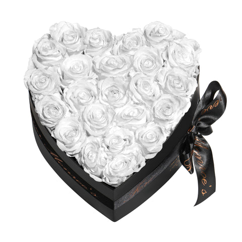 White Roses - Heart Box Rose Bouquet - Medium (Black Box)