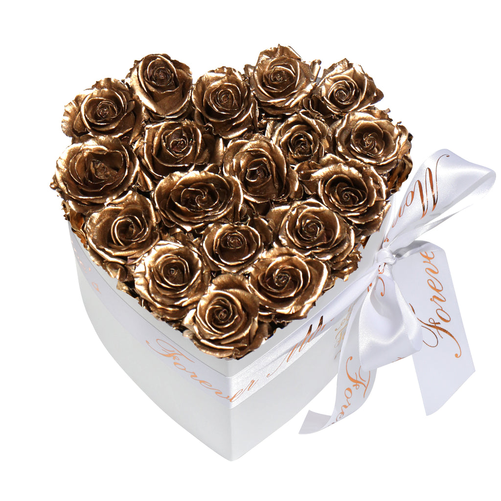 Gold Roses - Heart Box Rose Bouquet - Small (White Box)