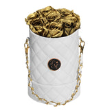 Gold Roses - Quilted Box Bouquet - Small (White Box)