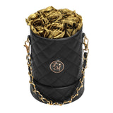 Gold Roses - Quilted Box Bouquet - Small (Black Box)