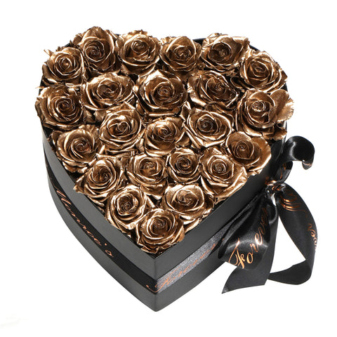 Gold Roses - Heart Box Rose Bouquet - Medium (Black Box)