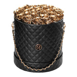 Gold Roses - Quilted Box Bouquet - Large (Black Box)