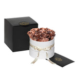 Rose Gold Roses - Classic Round Box Bouquet - Small (White Box)