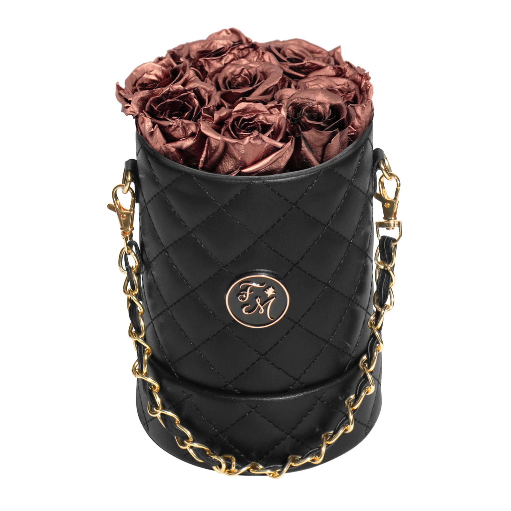 Rose Gold Roses - Quilted Box Bouquet - Small (Black Box)