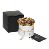 Gold Roses - Classic Round  Box Bouquet - Small (White Box)
