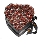 Rose Gold Roses - Heart Box Rose Bouquet - Medium (Black Box)