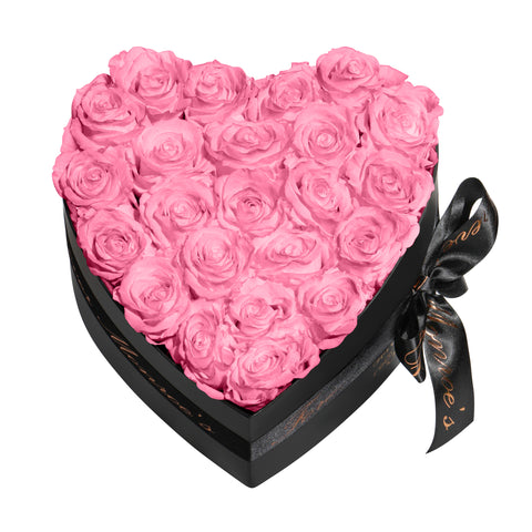 Pink Roses - Heart Box Rose Bouquet - Medium (Black Box)