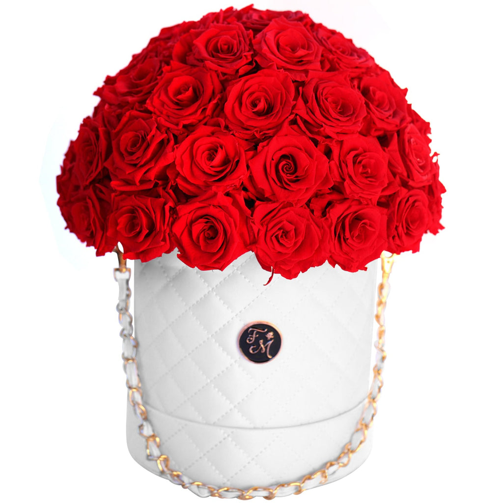 Red Roses - Quilted Box Dome Bouquet - Medium (White Box)