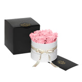 Pink Roses - Classic Round Box Bouquet - Small (White Box)