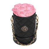 Pink Roses - Quilted Box Bouquet - Small (Black Box)