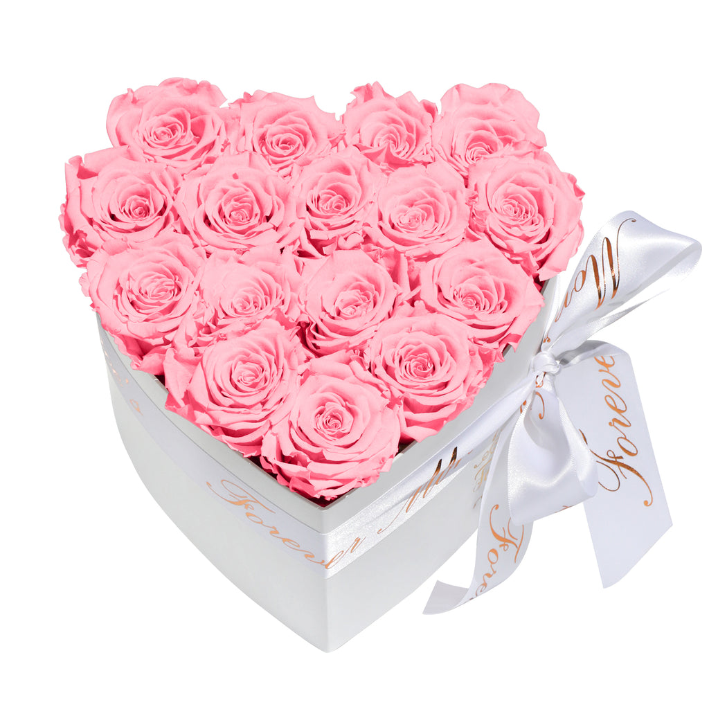 Pink Roses - Heart Box Rose Bouquet - Small (White Box)