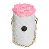 Pink Roses - Quilted Box Bouquet - Small (White Box)