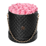 Pink Roses - Quilted Box Bouquet - Large (Black Box)