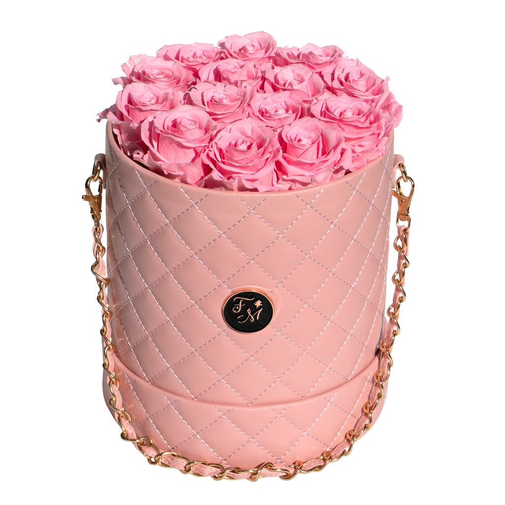 Pink Roses - Quilted Box Bouquet - Medium (Pink Box)