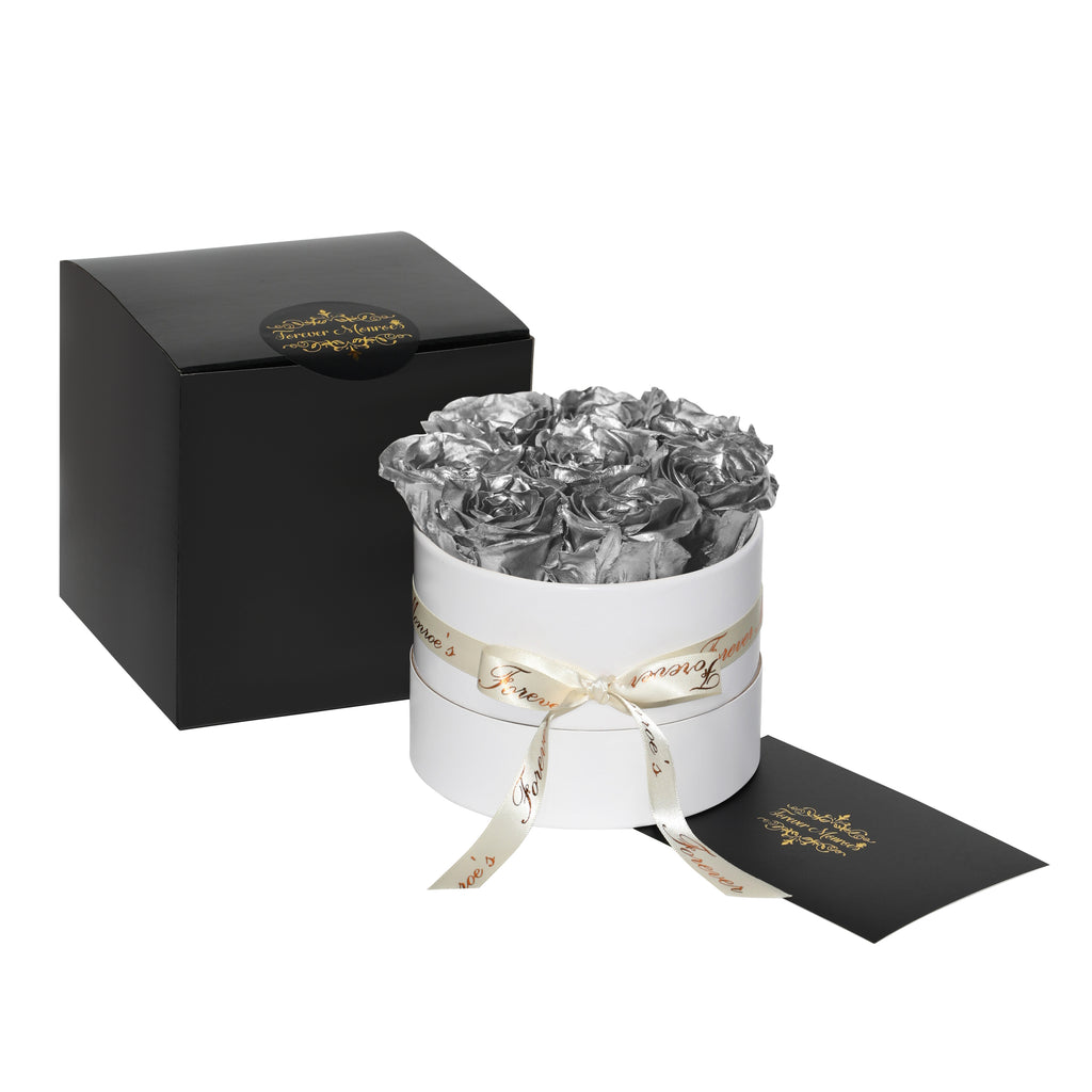 Silver Roses - Classic Round Box Bouquet - Small (White Box)