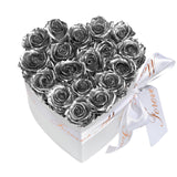 Silver Roses - Heart Box Rose Bouquet - Small (White Box)