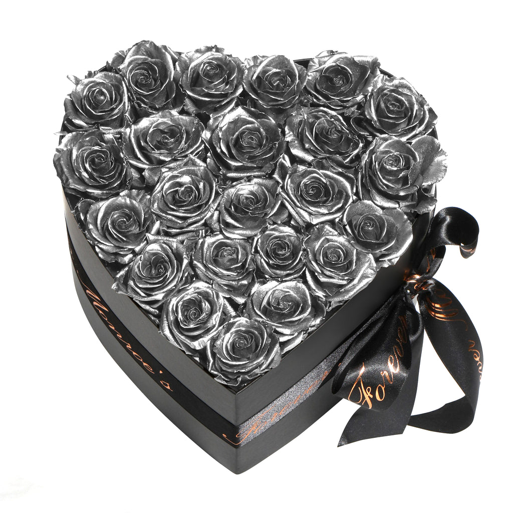 Silver Roses - Heart Box Rose Bouquet - Medium (Black Box)