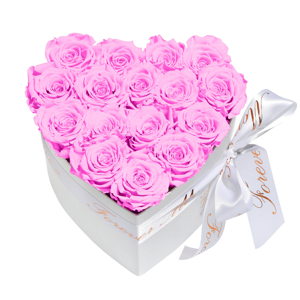 Cherry Blossom Roses - Heart Box Rose Bouquet - Small (White Box)