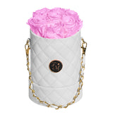 Cherry Blossom Roses - Quilted Box Bouquet - Small (White Box)