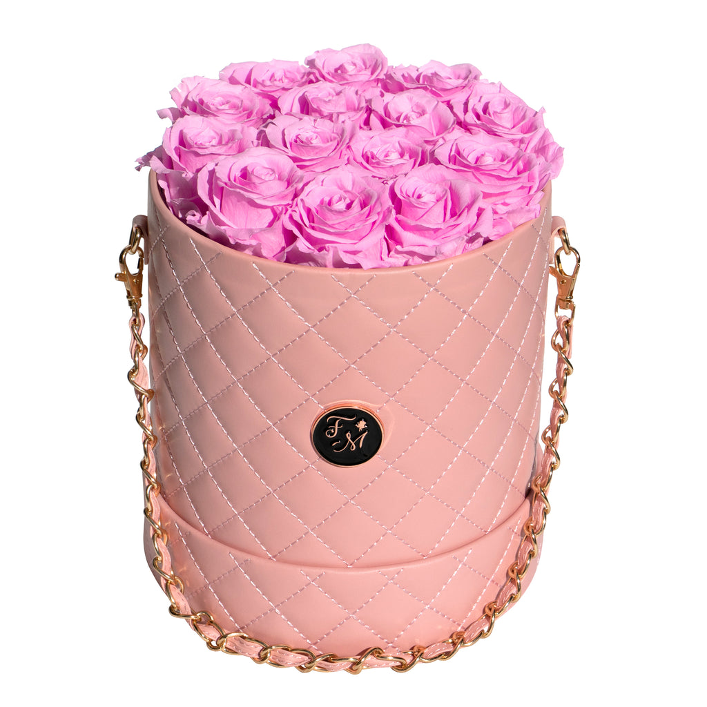 Cherry Blossom Roses - Quilted Box Bouquet - Medium (Pink Box)