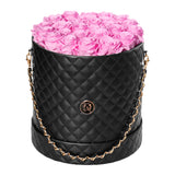 Cherry Blossom Roses - Quilted Box Bouquet - Large (Black Box)