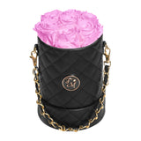 Cherry Blossom Roses - Quilted Box Bouquet - Small (Black Box)