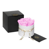 Cherry Blossom Roses - Classic Round  Box Bouquet - Small (White Box)