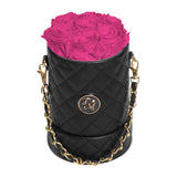 Hot Pink Roses - Quilted Box Bouquet - Small (Black Box)