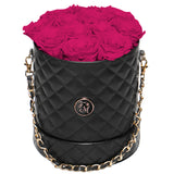 Hot Pink Roses - Quilted Box Bouquet - Medium (Black Box)
