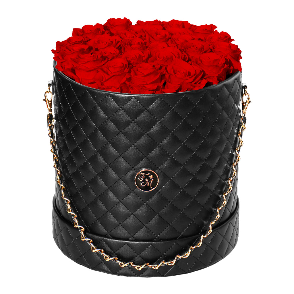 Red Roses - Quilted Box Bouquet - Large (Black Box)