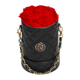 Red Roses - Quilted Box Bouquet - Small (Black Box)