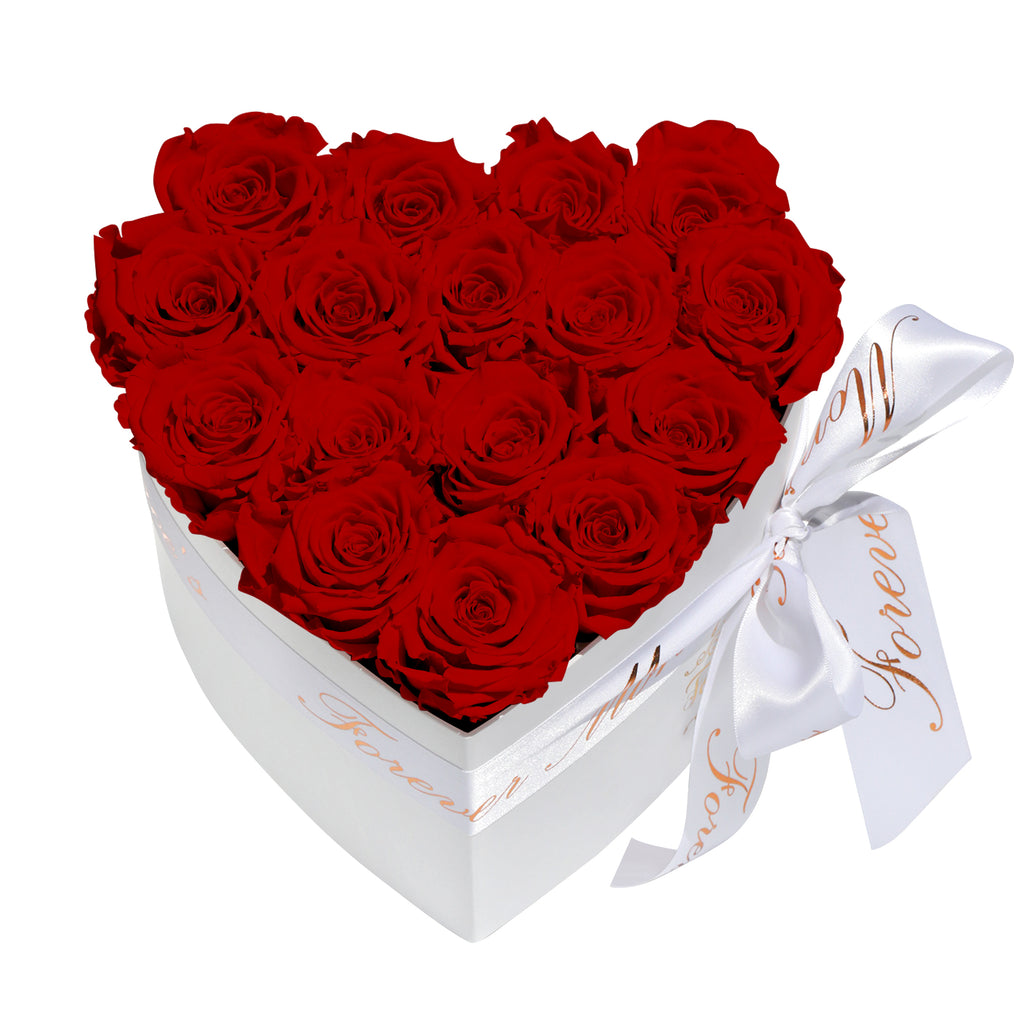 Red Roses - Heart Box Rose Bouquet - Small (White Box)