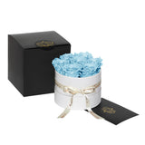 Light Blue Roses - Classic Round Box Bouquet - Small (White Box)