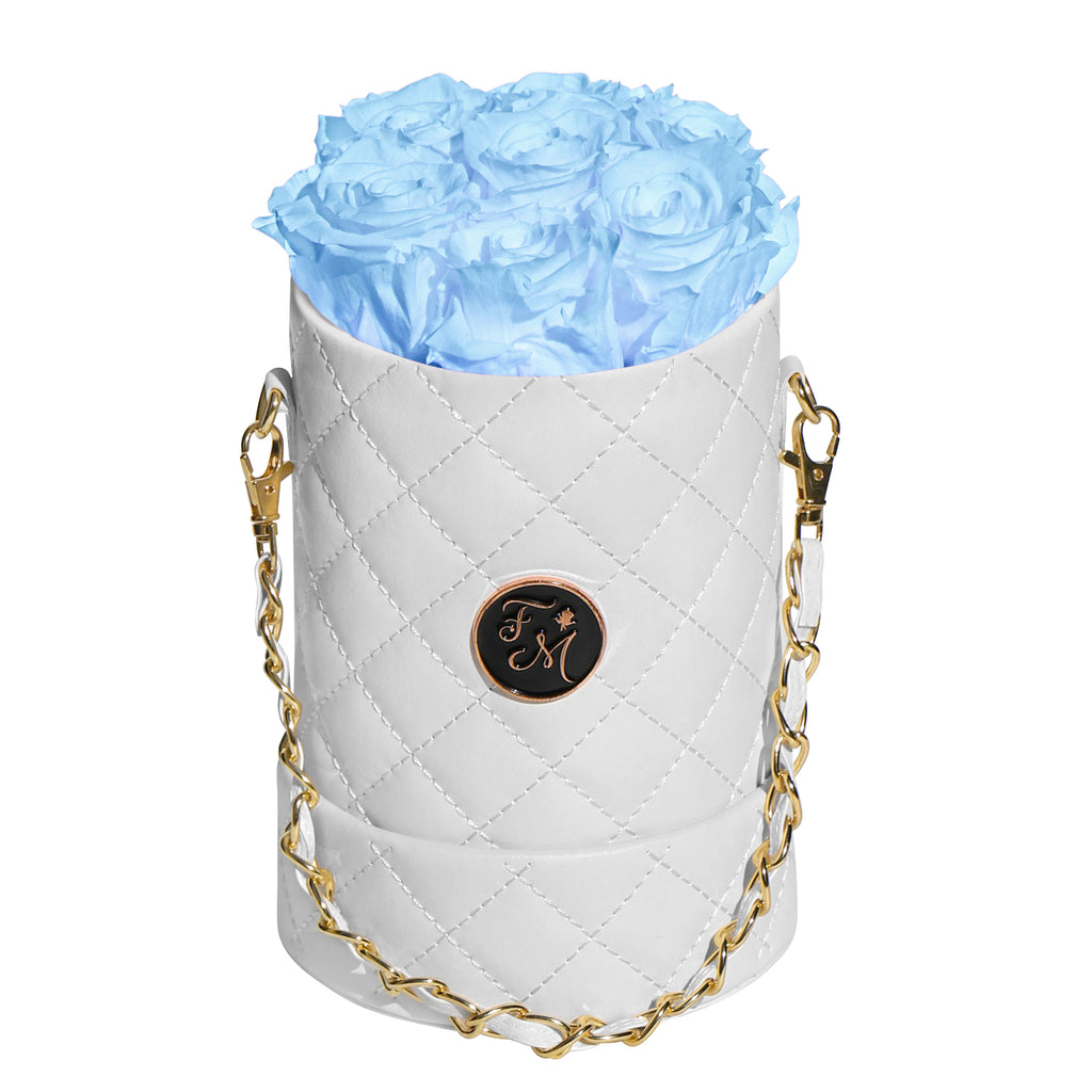 Light Blue Roses - Quilted Box Bouquet - Small (White Box)