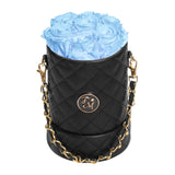 Light Blue Roses - Quilted Box Bouquet - Small (Black Box)