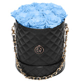 Light Blue Roses - Quilted Box Bouquet - Medium (Black Box)
