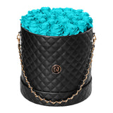 Turquoise Blue Roses - Quilted Box Bouquet - Large (Black Box)