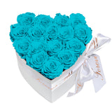 Turquoise Blue Roses - Heart Box Rose Bouquet - Small (White Box)