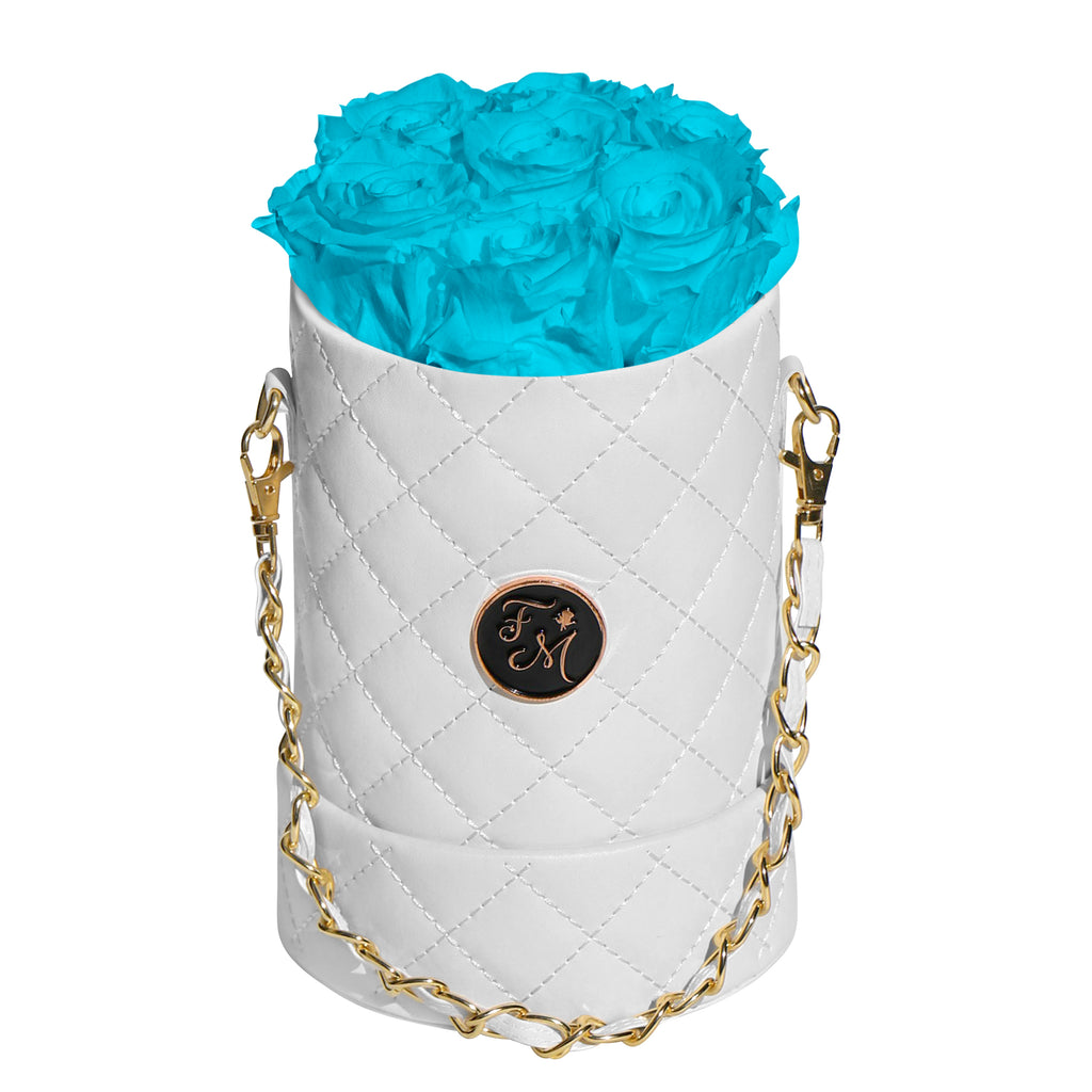 Turquoise Blue Roses - Quilted Box Bouquet - Small (White Box)