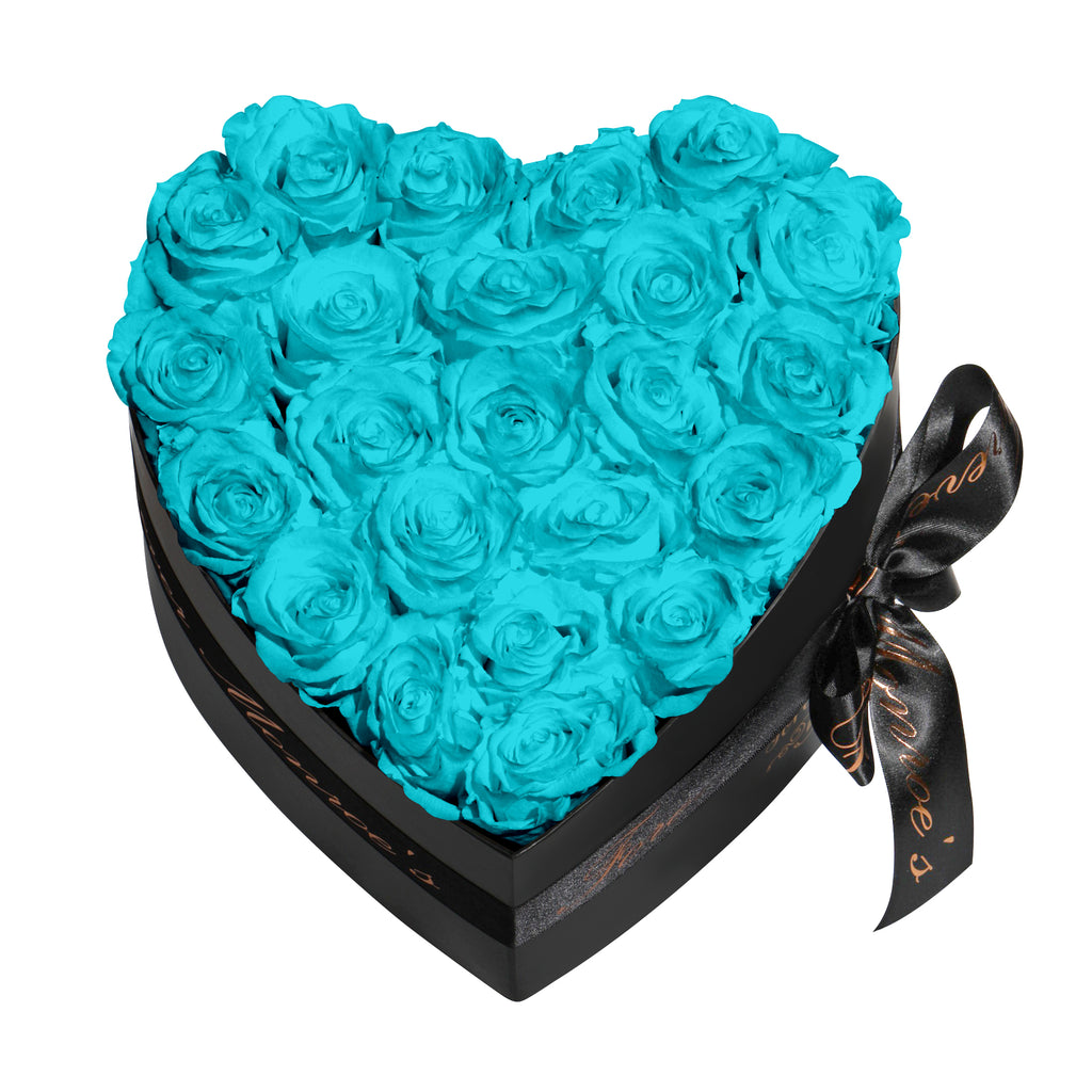 Turquoise Blue Roses - Heart Box Rose Bouquet - Medium (Black Box)