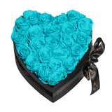 Aqua Blue Roses - Heart Box Rose Bouquet - Medium (Black Box)