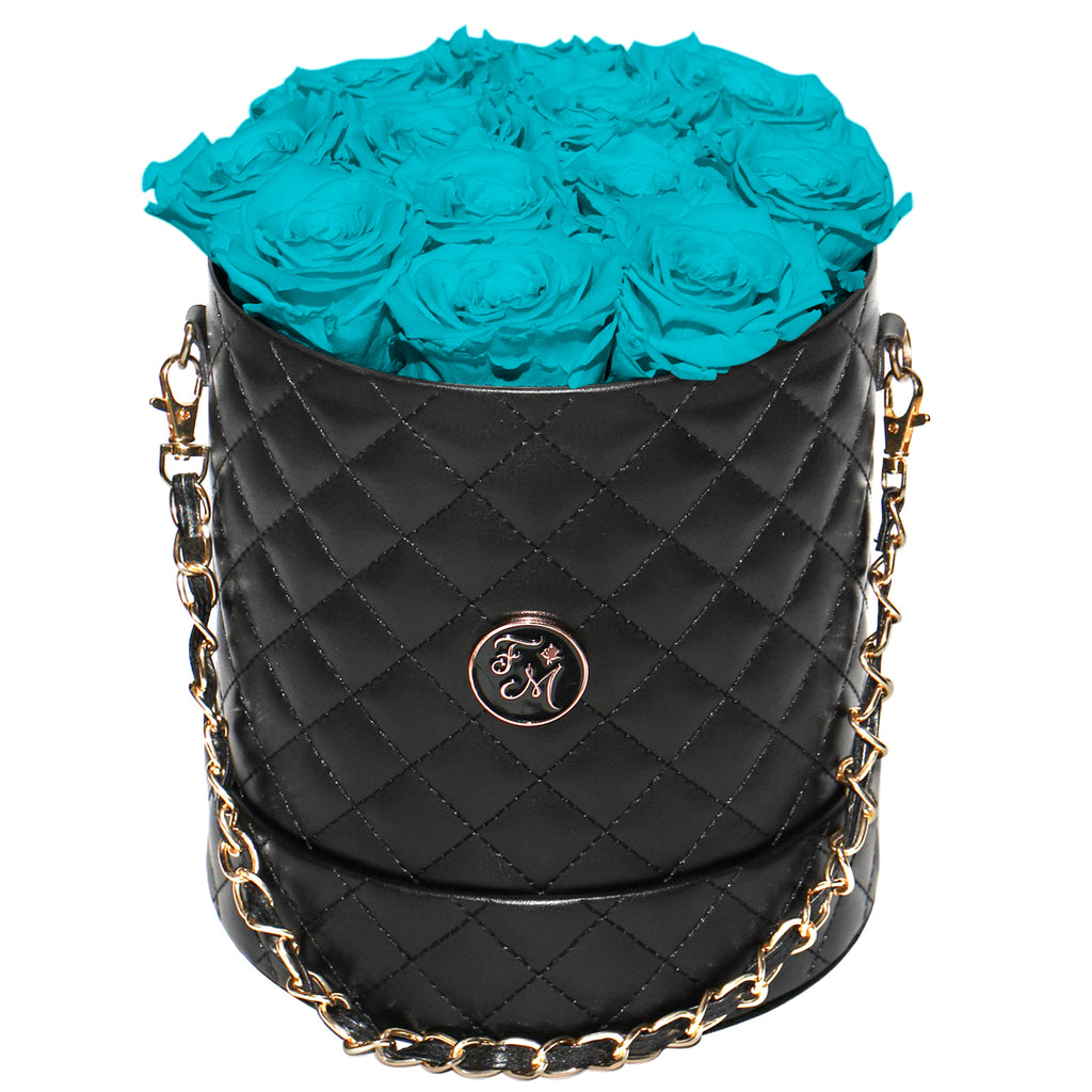 Turquoise Blue Roses - Quilted Box Bouquet - Medium (Black Box)