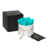 Aqua Blue Roses - Classic Round Box Bouquet - Small (White Box)
