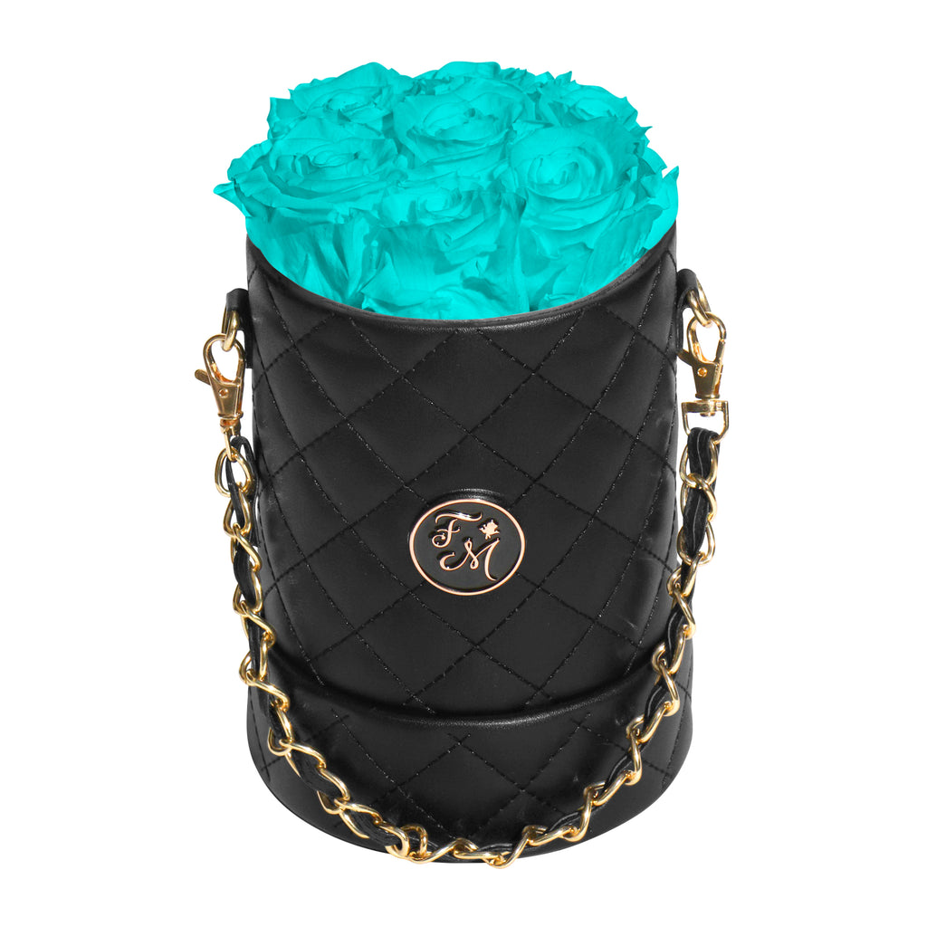 Aqua Blue Roses - Quilted Box Bouquet - Small (Black Box)