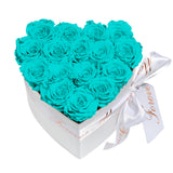 Aqua Blue Roses - Heart Box Rose Bouquet - Small (White Box)