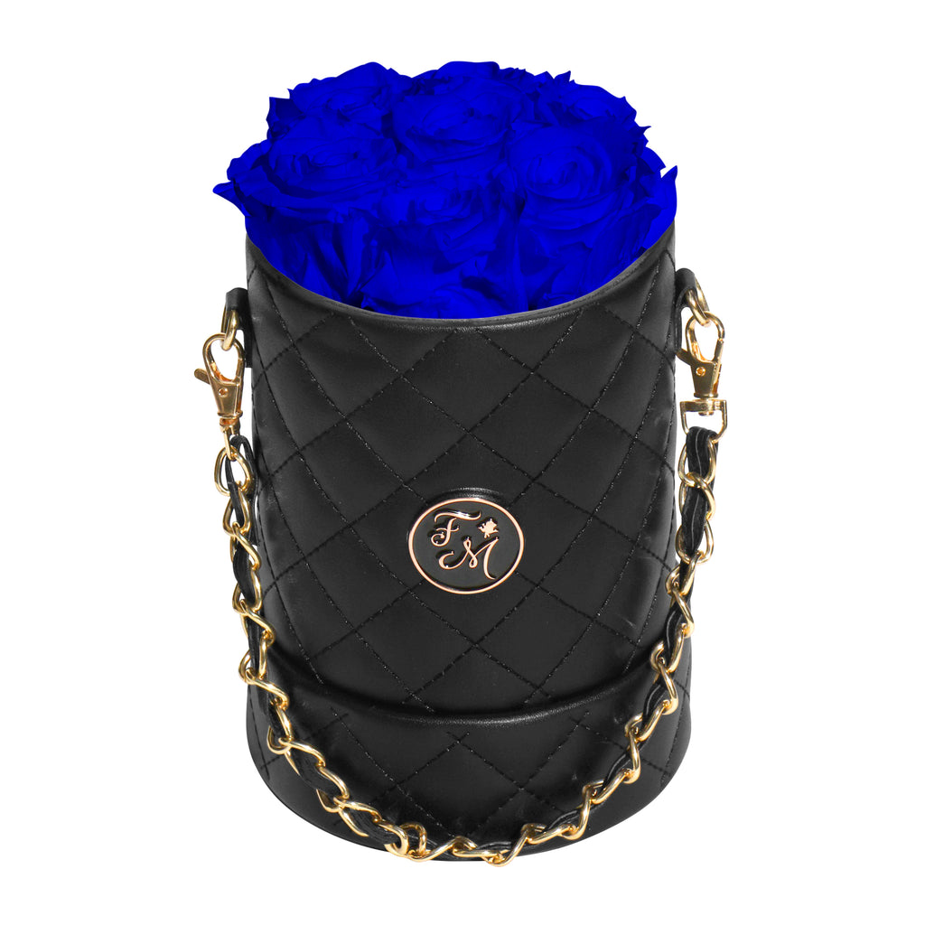Royal Blue Roses - Quilted Box Bouquet - Small (Black Box)