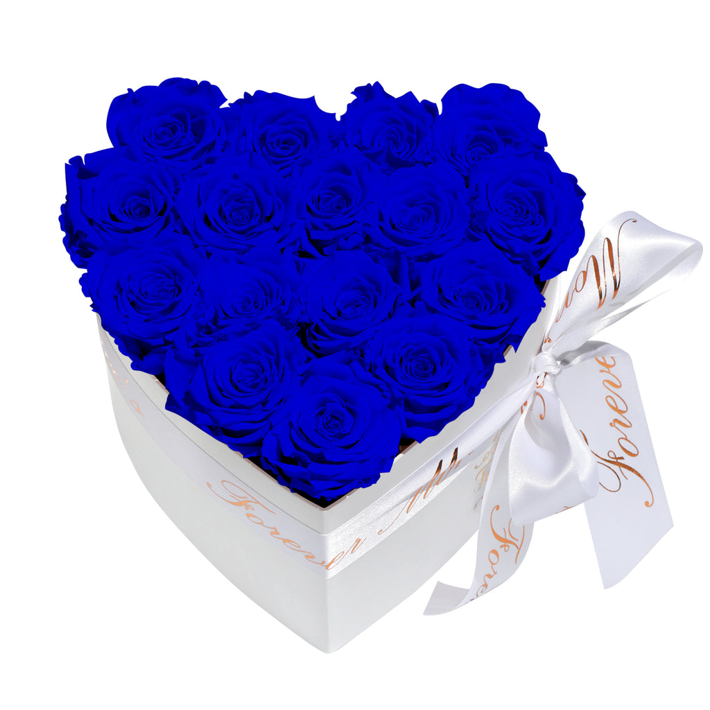 Royal Blue Roses - Heart Box Rose Bouquet - Small (White Box)